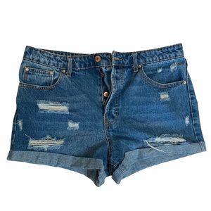 Forever 21 Denim Distressed Cotton Jean Shorts 29